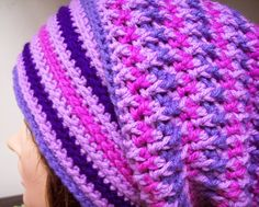 Conny slouch beanie with front and back post DCs to add texture. great for color changes. free pattern