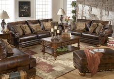 My new Sofa and Loveseat!!    Ashley Furniture DuraBlend Antique Sofa - 9920038 - Living Room Sofas