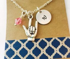 I Love You Sign Language Charm Necklace ,Swarovski Birthstone Initial Sterling Silver Plated Necklace / Personalized