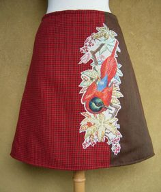 Tropical Bird embroidery skirt, A-line skirt, embroidery applique, fully lined, vintage wool, red brown, size Medium door LUREaLURE op Etsy