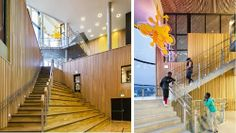 Ny Krohnborg, a revitalised school and nursery is integrated with a public sports arena and auditorium Primary School, Pre School, Elementary Schools, Auditorium, Atrium, Early Childhood, Interior Architecture, Public, Stairs