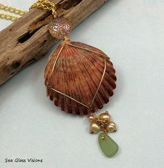 Sea Shell Jewelry Sea Glass Jewelry Pendant by SeaGlassVisions.