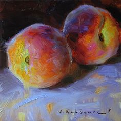 First Peaches by Elena Katsyura Oil ~ 6 x 6 Cute Canvas Paintings, Still Life Fruit, Fruit Painting, A Level Art, Indigenous Art, Fruit Art, Pastel Art, Concept Art, Illustration Art
