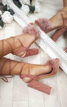 Loucia Fluffy Lace Up High Heels at ikrush - heels classy Stilettos, Stiletto Heels, Shoes Heels, Pumps, Heels Outfits, Sandals Outfit, Dress Shoes, Heeled Sandals, Fancy Shoes