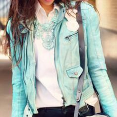 Mint color leather jacket Beautiful cool and chick piece versatile and year round accessory' vegan leather material in a beautiful mint color . Brand is boujour size small. Fairly new listed as A E for visibility American Eagle Outfitters Jackets & Coats