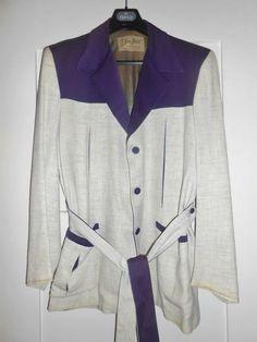 50s Hollywood jacket with belt - label Eton Hall