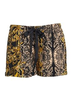 Peter Alexander Gold Lace Print Short These rococo style gold lace print shorts are silky smooth on the skin and a dream to wear. Featuring an elasticised waistband with black satin drawstring, team them up with a classic black tank or long sleeved tee for a luxe look. Line Number 823896 Fabric 100% Viscose