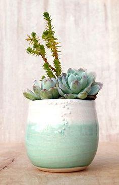 Little Minty Stoneware Planter