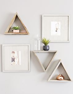Modern triangle nursery wall shelves with trendy rose gold accents.