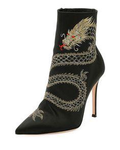 X3TWC Gianvito Rossi Dragon-Embroidered Satin Boot, Black