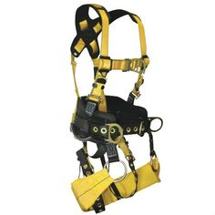 FallTech Journeyman Tower Harness with Buckle Legs. Tree Climbing Equipment, Tower Climber, Full Body, Color Yellow, Washer, Shoulder Strap, Legs, Accessories, Washing Machine