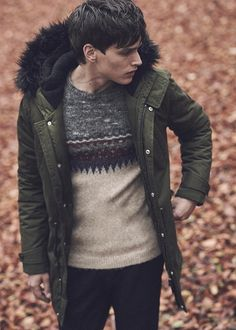 Green parka with black fur collar, Burton,  patterned Fair Isle jumperblack red grey white, Chinos Whistles.