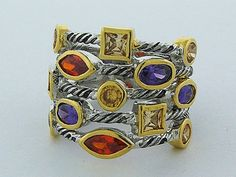 This is a Five-row Cable ring in 925 Sterling Silver with mixed berry-colored stone stations and yellow gold. Purple Amethyst, Blue Topaz, Womens Jewelry Rings, Women Jewelry, Sterling Silver Rings, Silver Jewelry, David Yurman, Peridot, Berry