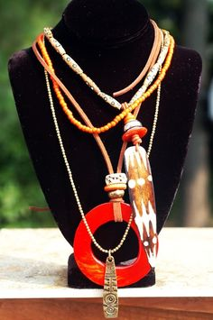 XOGALLERY.COM  NECKLACES | ... and Orange Shell Hoop Multiple Pendant Necklace from XO Gallery