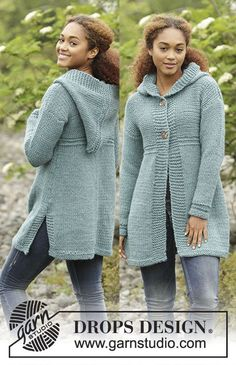 Knitted DROPS jacket with hood and A-shape in Andes. Size: S - XXXL. Free pattern by DROPS Design.