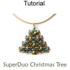 2 Hole SuperDuo Beaded Christmas Tree Necklace Earrings Holiday Jewelry Downloadable Beading Pattern Tutorial | Simple Bead Patterns