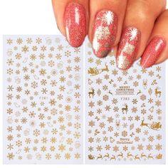 1 pcs Christmas Nail Sticker Decal Snowflake Nail Sticker Tip Gold Silver  Nail Wrap Manicure Nail Art Decoration 1fa28f0e5087