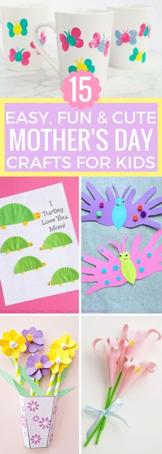 Mother's Day is coming up soon. This post is here to help you find inspiration for Mothers Day Crafts for Kids. The projects featured in this post are all easy crafts for kids and most of them are easy enough to make them suitable projects for preschoolers too. Click through to tinkerabout.com/mothers-day-crafts-for-kids to see all 15 Mothers Day Gifts from Kids! #mothersday #kidscrafts #mothersday #craftsforkids