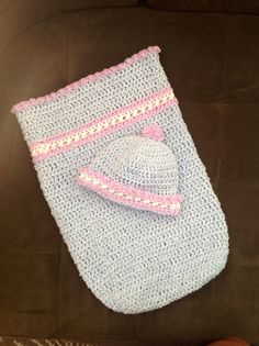 Crochet baby sack with matching hat