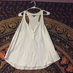 Shirt White button down tank top, very casual, super cute and light. Never worn. American Eagle Outfitters Tops Tank Tops
