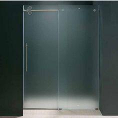 "Vigo 60-inch Frameless Tub door 3/8"" Frosted Glass Chrome Hardware | KitchenSource.com"