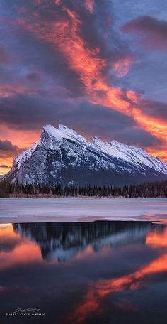 Banff Reflected sunrise at Vermillion Lakes and Mount Rundle, Banff National Park, Canada by Jay Daley Landscape Photos, Landscape Photography, Nature Photography, Photography Classes, Photography Hashtags, Banff Photography, Sunrise Photography, Adventure Photography, Photography Camera