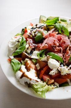 Tomato salad with prosciutto and mozzarella