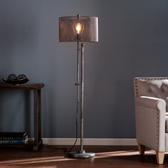 Light up your decor style with this striking floor lamp. The polished, gunmetal gray finished lamp includes an Edison style LED bulb, housed inside of a mesh metal shade that casts the gleaming light