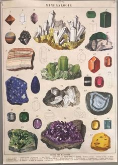 Any earth lover would dig this lovely vintage-style flat wrap. Design features hand drawn illustrations of a variety of minerals. Elegant for gift wrapping, or frame it as artwork. Printed on Italian acid-free paper. From Cavallini & Co. Collage Des Photos, Photo Wall Collage, Picture Wall, Collage Art, Room Posters, Poster Wall, Art Poster Prints, Wall Art Posters, Poster Poster