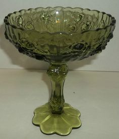 Fenton Olive Green Glass Footed Compote Pedestal Bowl Rose Bud Tall Stem