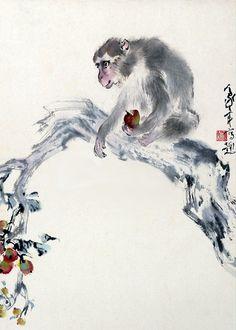 Monkey, apple -  by Au Ho-Nien (1935 - ), China. Lingnan School.