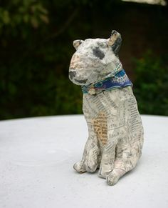 Charming Papier Maché Bull Terrier with Liberty Bandanna