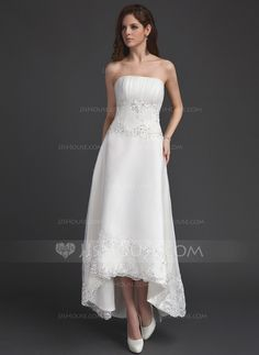 Wedding Dresses - $142.99 - A-Line/Princess Strapless Asymmetrical Organza Wedding Dress With Ruffle Lace Beadwork Sequins (002011491) http://jjshouse.com/A-Line-Princess-Strapless-Asymmetrical-Organza-Wedding-Dress-With-Ruffle-Lace-Beadwork-Sequins-002011491-g11491