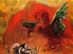 Pegasus and the Hydra  Artist: Odilon Redon  Completion Date: c.1907  Style: Symbolism  Genre: mythological painting  Gallery: Rijksmuseum Kröller-Müller, Otterlo, Netherlands  Tags: Greek-and-Roman-Mythology, Pegasus, Hydra