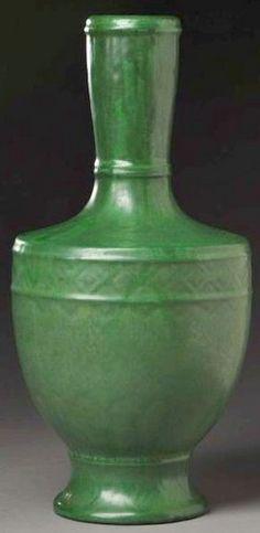 Radford Pottery, Radura shouldered vase, diamond frieze, matte green glaze