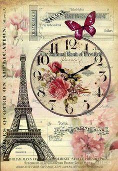 French Botanical Art Digital Art - Vintage Paris Butterfly Antique Clock by Cran. - French antiques models and images Decoupage Vintage, Vintage Paris, Vintage Pictures, Vintage Images, Etiquette Vintage, Paris Wallpaper, Shabby Chic Wallpaper, Foto Transfer, Paris Art