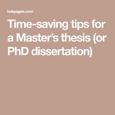 Time-saving tips for a Master's thesis (or PhD dissertation)