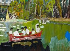 Peter Doig, Red Boat (Imaginary Boys) [Bateau rouge (Garçons imaginaires)], Huile sur toile, 200 x 186 cm. The Weston Collection. Peter, History Painting, Your Paintings, Contemporary Artists, Artist, Painting, Visual Art, Peter Doig, Abstract