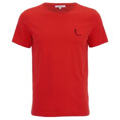 Carven Men's Small Logo T-Shirt - Red ($105) ❤ liked on Polyvore featuring men's fashion, men's clothing, men's shirts, men's t-shirts, men, t-shirts, red, mens t shirts, mens red t shirt and mens red shirt