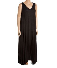 This Black Sleeveless Maxi Shift Dress - Plus by GLAM is perfect! #zulilyfinds