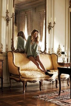 antique french settee in the zadig voltaire catalogue Paris Appartment, Style Français, Erin Wasson, French Decor, Parisian, Beautiful Homes, Beautiful Interiors, Beautiful Things, Love Seat