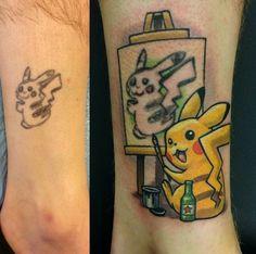Pikasso: Best Tattoo Cover Up! #pikasso #pikachu #pokemon #geek #tattoo #tattoos #funny #fail #lol