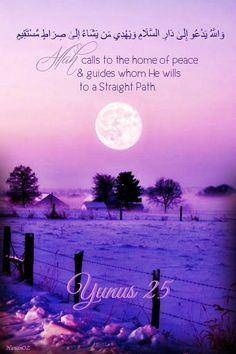 وَاللَّهُ يَدْعُو إِلَىٰ دَارِ السَّلَامِ وَيَهْدِي مَن يَشَاءُ إِلَىٰ صِرَاطٍ مُّسْتَقِيمٍ Allah calls to the home of peace and guides whom He wills to a Straight Path. Al-Qur'an 10:25