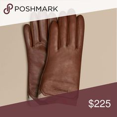 Burberry Check Trim Leather Touch Screen Gloves Color brown. Burberry Accessories Gloves & Mittens