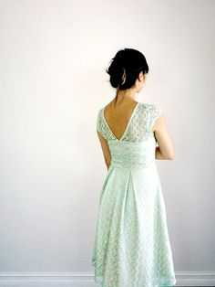 GOSSAMER | Mint - lace pastel green bridesmaid dress. spearmint. vintage inspired. pleated skirt. pockets. party. day. cap sleeve. cocktail