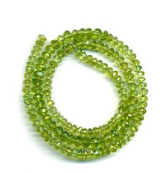 "Peridot BEADS Green Faceted 4mm Handcut Rondell Beads 17"" Str Lovely!"