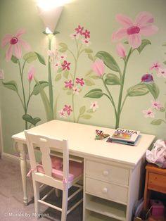 Flower Murals | Giant Flowers Mural - Flowers - Hand Painted Wall Murals - San ...