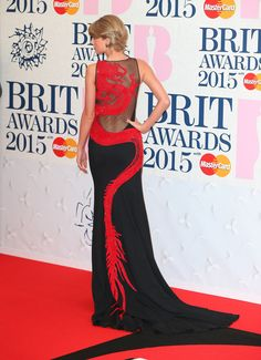 Taylor Swift in Roberto Cavalli Atelier gown at 2015 BRIT Awards