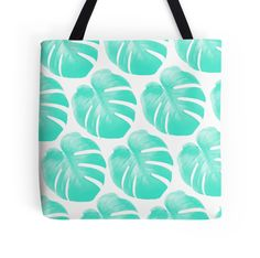 TROPIC PACIFIC by adventura #totebag #totes #tote #beachbag #beachwear #beach accessory #summeraccessory #tropical #palmleaf #monstera #trend #trending #trendy #girl #summer2016 #turqouise #mint