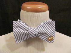 Navy Seersucker Bowtie with Gold Crab  Coastal Ties beach wedding groomsmen nautical preppy by savannahjacks, $40.00